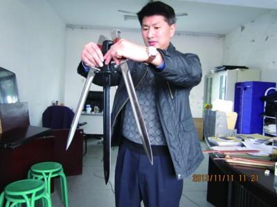 滁州警方展示收缴的凶器