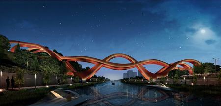 中国结形状的大桥