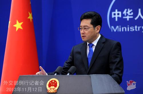 2013年11月12日,外交部发言人秦刚主持例行记者会。