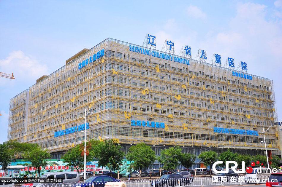 沈阳儿童医院挂土豪金十二生肖。