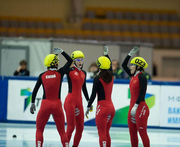 图文:短道世界杯俄罗斯站 中国女队庆祝
