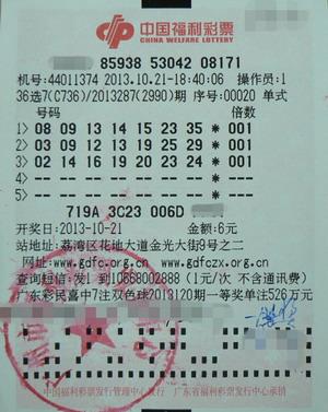 福利彩36选7_今年10月21日广州市中出的南粤风采36选7一等奖彩票—奖金为4,170,492