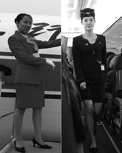 金正恩/高丽航空女乘务员的新旧制服对比...