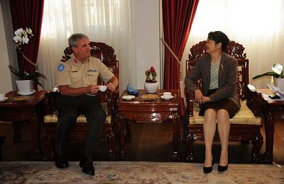 驻以色列大使高燕平会见联合国停战监督组织参谋长费恩少将