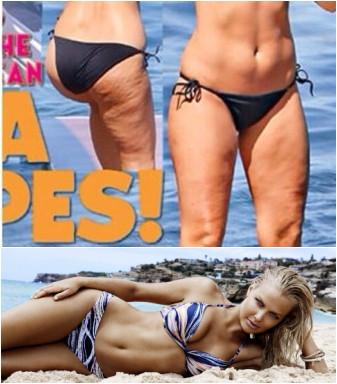 《Famous》杂志近日刊登了澳洲超模宾格(Lara Bingle)的比基尼照片,照片中宾格大腿脂肪粗糙。对此,愤怒的宾格在社交网站贴性感照发起反击。图自澳洲网