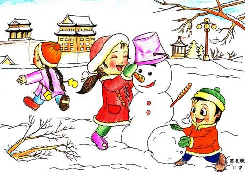 小朋友用记忆中冬天里下大雪后小朋友们不畏严寒尽情堆雪人的快乐情景