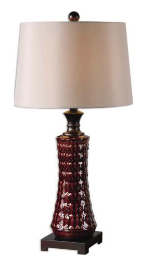红色陶瓷台灯