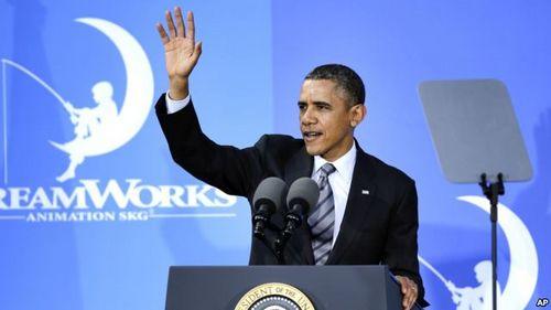 26日,奥巴马在梦工厂动画片公司发表讲话,谈娱乐业在美国经济中的重要作用。