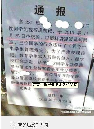云南学生带饭进教室被开除学籍续:仍正常生活学习