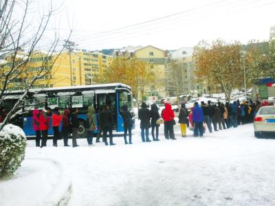 这么大的雪,这么冷的天,但是可爱的大连人,依然自觉排着200多米的长队,这就是大连人的素质。初春供图