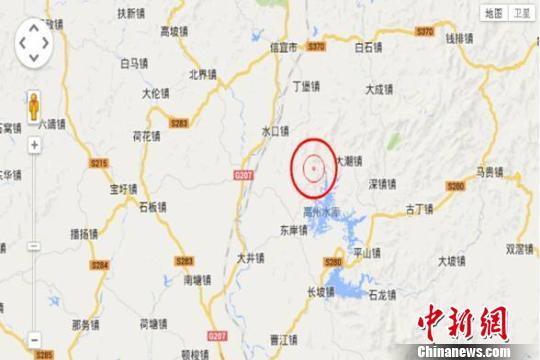 本次地震示意图 茂名市地震局 摄