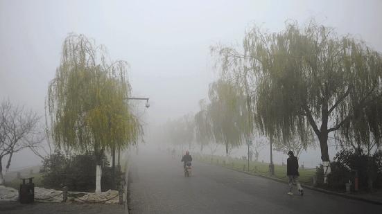 图为12月8日被雾霾笼罩的西湖白堤