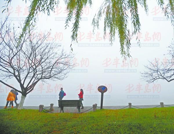 被雾霾笼罩的西湖白堤12月8日摄
