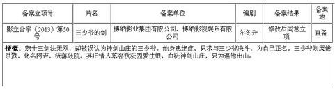 公示表上的信息表明影片已获准立项