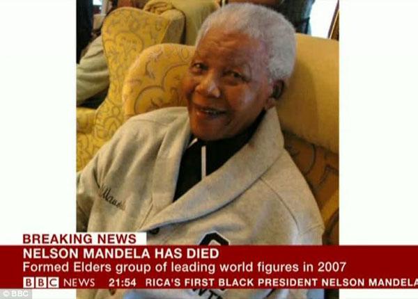 BBC报道曼德拉去世(网页截图)