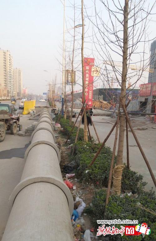邯郸一污水管道停放路面5个月 居民出行受阻(组图)