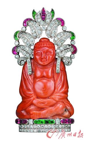 梵克雅宝1927年创作的佛像胸针