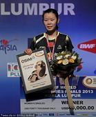 图文:羽联总决赛女单决赛 李雪芮卫冕女单冠军