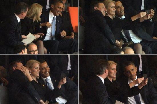上周,美国总统奥巴马、英国首相卡梅伦与丹麦首相施密特在南非前总统曼德拉追悼会上玩起了自拍 (图片