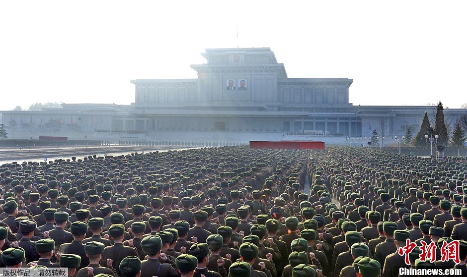 朝鲜举行誓师大会,纪念金正日逝世两周年