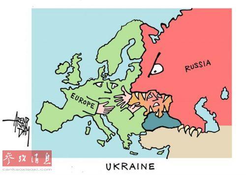 图右的俄罗斯熊把乌克兰牢牢咬住,而图左的5日和搞笑漫画图片