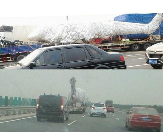 网友在高速路上拍摄到疑似直20直升机。