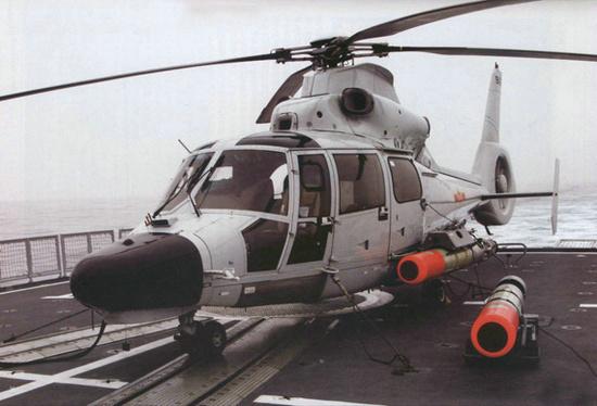 中国海军直9C型舰载反潜直升机。