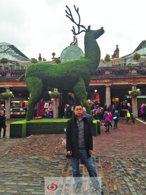 伦敦一个跳蚤市场前植物雕塑的鹿