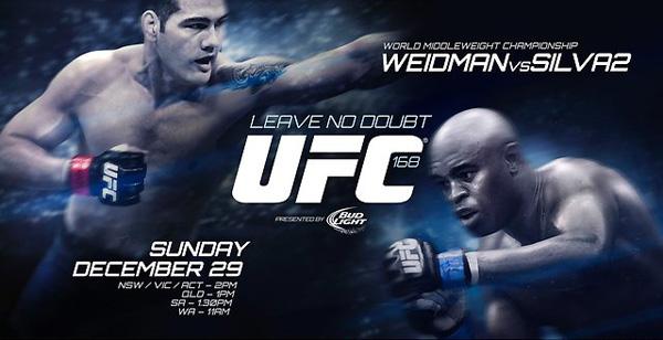 北京时间12月29日上午11点,UFC168将于拉斯维加斯举行,头条主赛是蜘蛛安德森-席尔瓦(Anderson Silva) VS 克里斯-韦德曼(Chris Weidman)的中量级冠军二番战,联合主赛则是隆达-罗西(Ronda Rousey) VS 米莎-塔特(Miesha Tate)的女子雏量级冠军二番战。此外诸如乔什-巴奈特(Josh Barnett)、吉姆-米勒(Jim Miller)、特拉维斯-布朗(Travis Browne)等名将也都将出赛。(#为选手目前在该量级的官方排名)   主