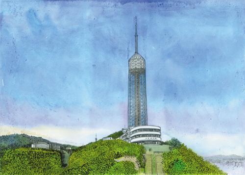 大连广播电视塔位于劳动公园南侧绿山之巅,190米的塔身加上山高,海拔