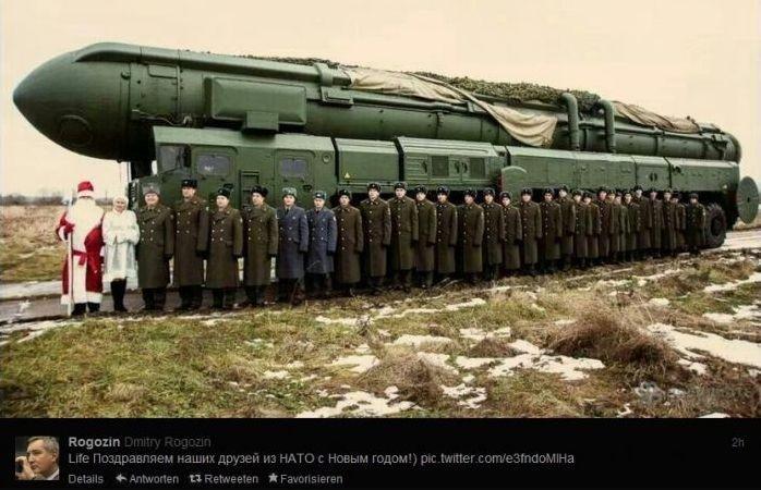 """俄罗斯副总理罗戈津在其个人社交网页上发布""""导弹贺卡"""",祝愿北约同行们新年快乐。"""