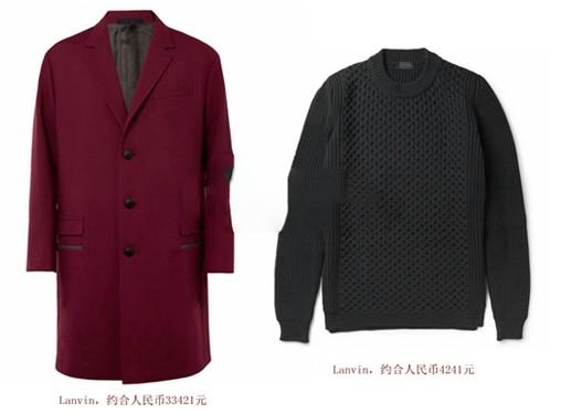 紫红色外套配黑色毛衣