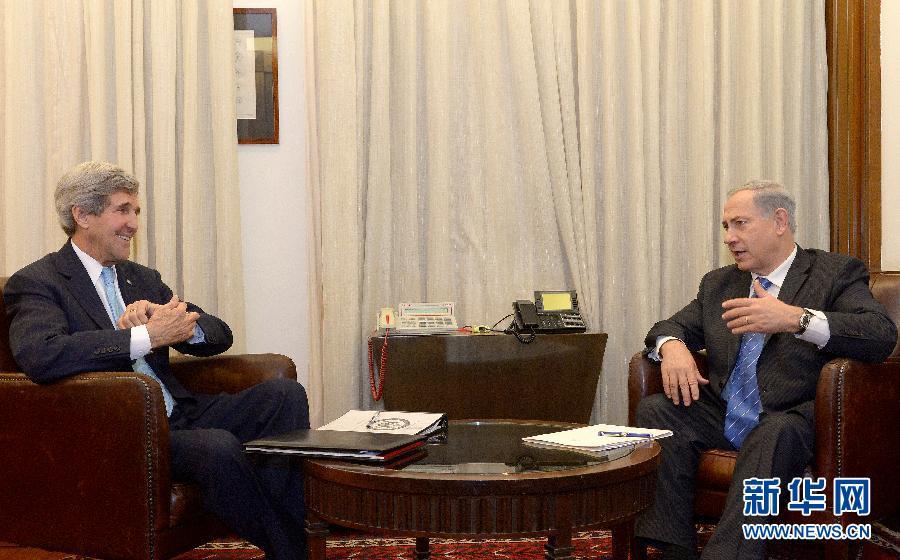 以色列总理内塔尼亚胡会见美国国务卿克里(组图)