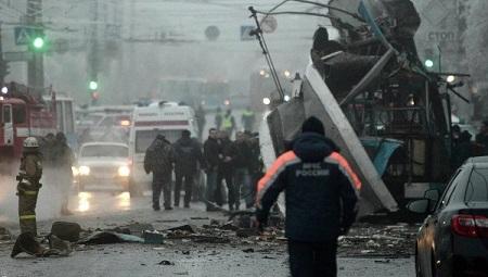 俄罗斯媒体公布的伏尔加格勒无轨电车爆炸现场照片