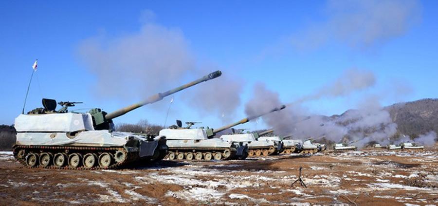 吉林�9k�9�&�`�yn���9��_韩国陆军展开炮击训练 出动k-9自行火炮(高清组图)