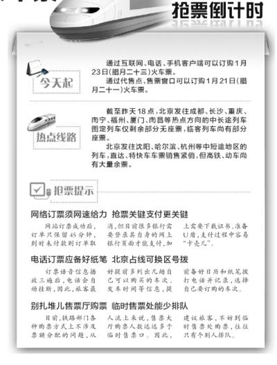 京华时报讯(记者韩旭)随着春节的临近,抢票大战大幕拉开。根据铁路部门现行车票预售期推算,今天起,旅客可通过网络和电话抢购腊月二十三小年(阳历1月23日)的火车票了。