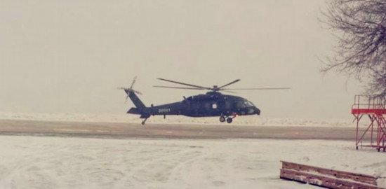 资料图:直-20直升机首飞时的场景。