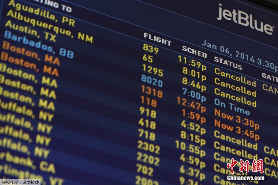 罕见酷寒席卷美国 3900趟航班取消多地交通瘫痪(高清组图)