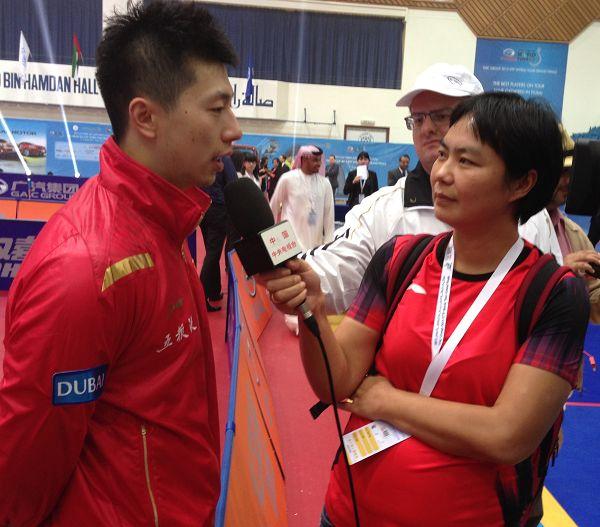 图文:2013乒联总决赛落幕 马龙接受采访