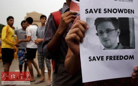 2013年7月7日,印度新德里民众举行活动声援斯诺登。资料图片