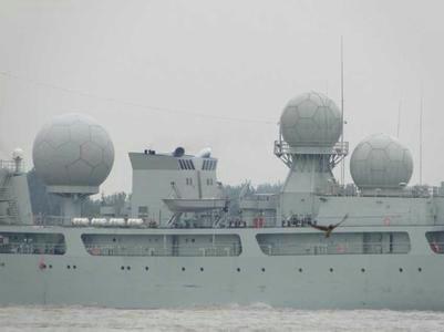 资料图:中国海电子侦察船853号船上大球.