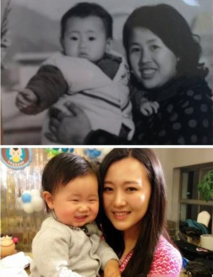 上图:潘阳妈妈抱着潘阳。下图:潘阳抱着一岁的儿子