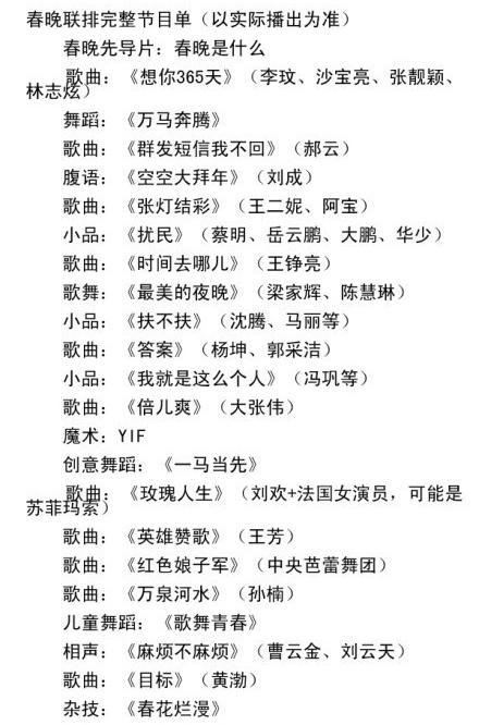 媒体曝春晚联排节目单董卿玩法式深吻