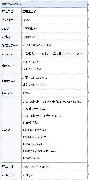 NEC PA500X+最便宜的工程投影机