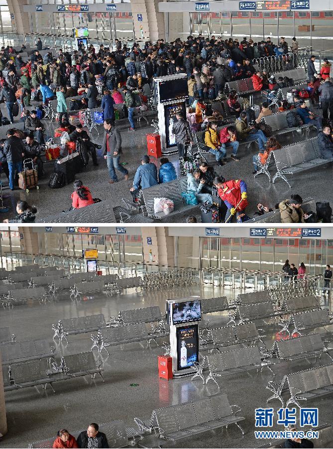 上图,1月28日拍摄的银川火车站熙熙攘攘的返乡人群;下图,1月31日大年