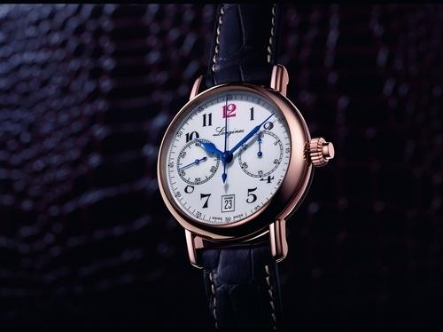 浪琴表经典复刻系列导柱轮单按钮玫瑰金计时秒表_L2.775.8.23.3