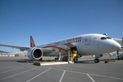 波音787飞机降落大连机场