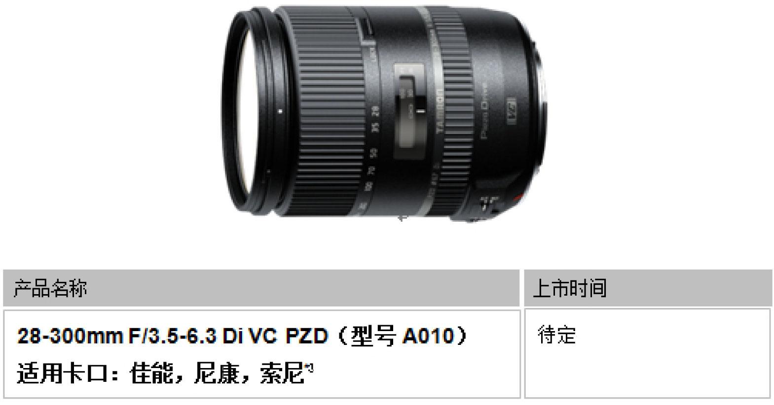 腾龙宣布开发适用全幅单反相机变焦镜头
