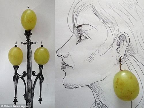 另类艺术家手绘展巧思 搭配美食画画有创意(图)