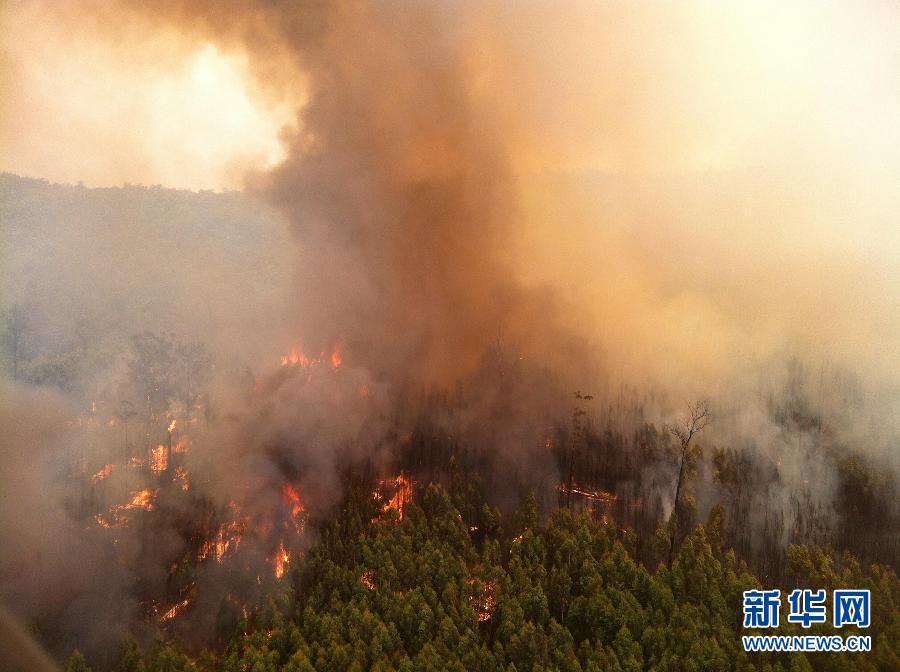 这张澳大利亚国家消防局提供的照片显示的是墨尔本周边地区的山火。